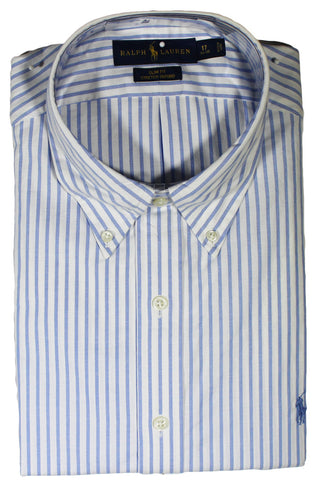 NEW Ralph Lauren White with Blue Stripes Long Sleeve Shirt - Slim Fit Size 17 34/35