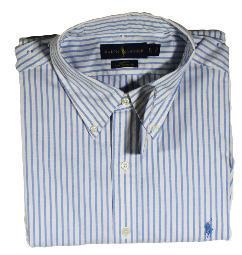 NEW Ralph Lauren White Long Sleeve Shirt with Light Blue Stripes - Slim Fit Sizes 17 32/33 & 17 34/35