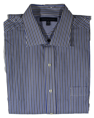 NEW Tommy Hilfiger Blue Black Stripe Long Sleeve Shirt Sizes 16.5 & 17