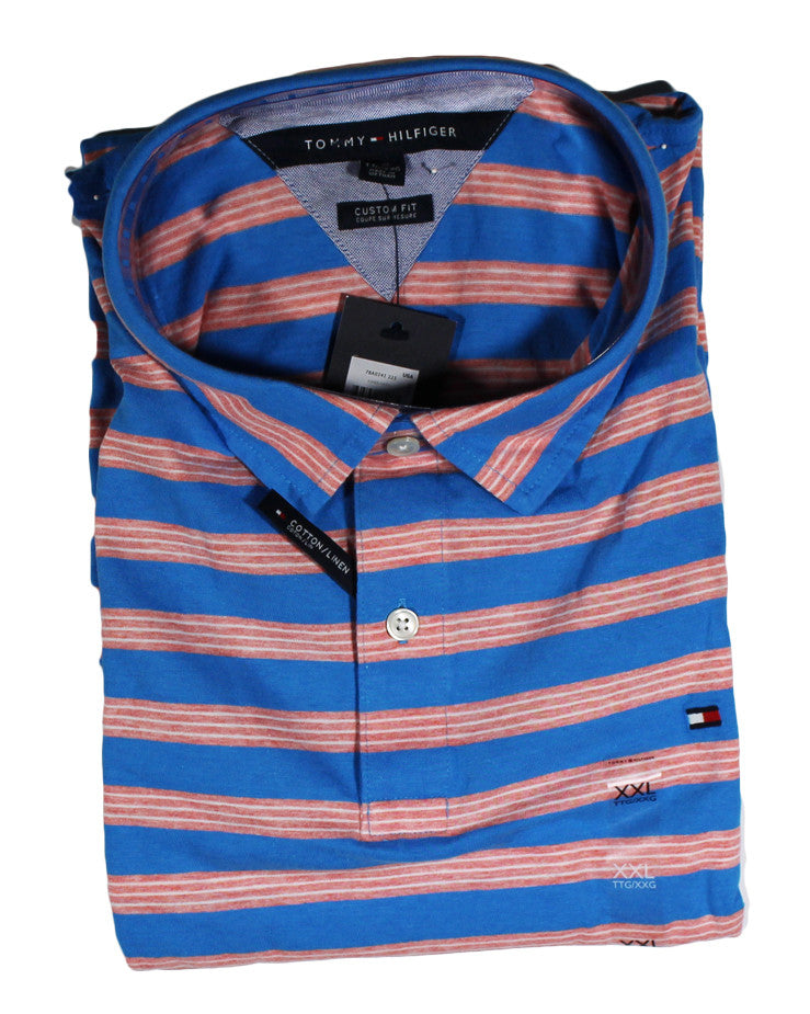 NEW Tommy HIlfiger Pink & Aqua Striped Polo Size 2XL