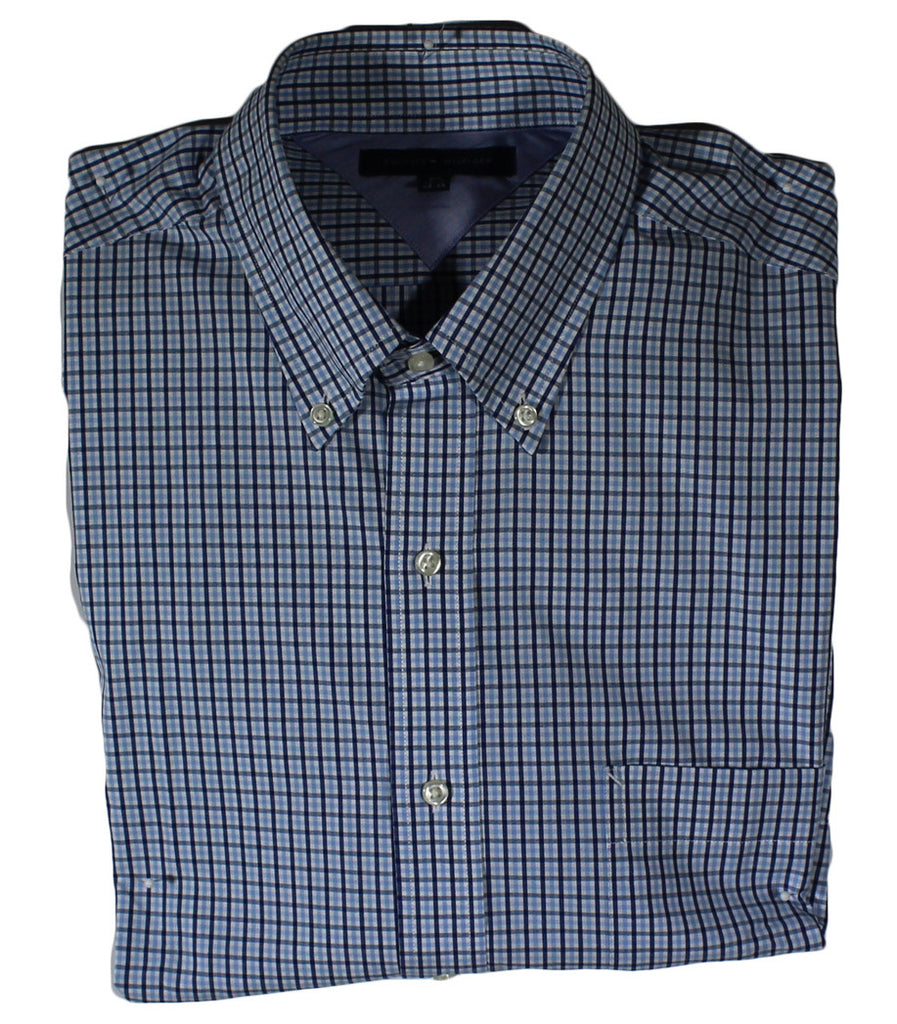 NEW Tommy Hilfiger Plaid Blue & Black Long Sleeve Shirt Size 16.5