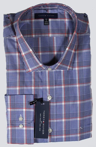 NEW Tommy Hilfiger Red White & Blue Plaid Long Sleeve Shirt Sizes 18, 19 & 20