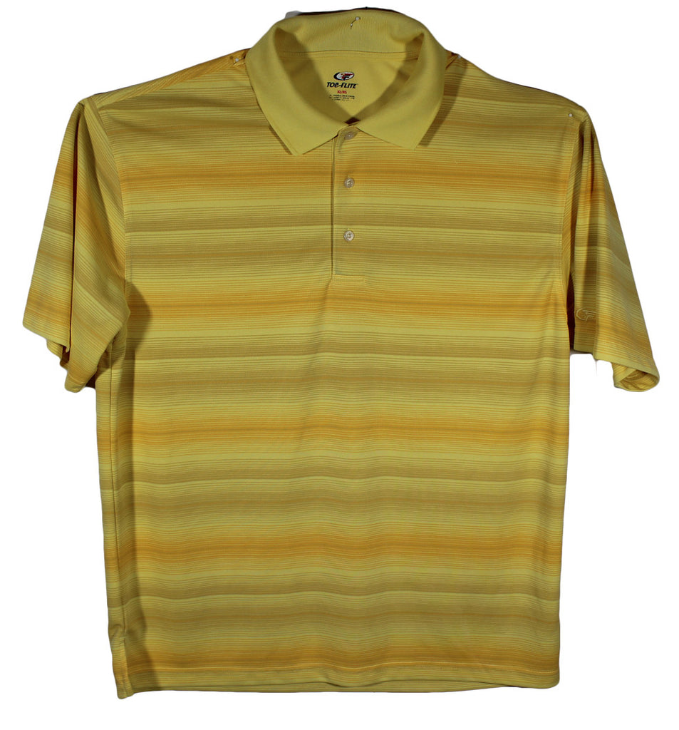 Top Flite Yellow Striped Performance Polo Size XL
