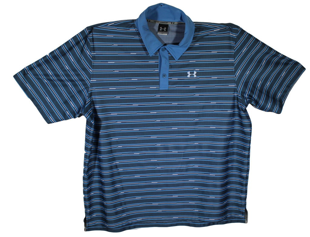 Under Armour Blue Striped Performance Polo Size 2XL