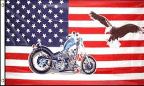 USA Flag with Motorcycle and Eagle