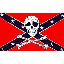 Confedederate Flag With Skull and Crossbones