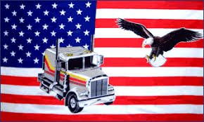 USA Flag With Eagle and Truck