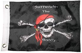 Jolly Roger Red Hat Surrender the Booty Flag