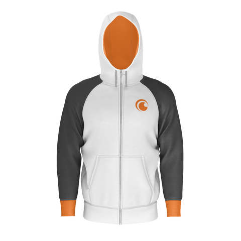 CRUNCHYROLL BASIC HOODIE, ZIP, WHITE, GREY, ORANGE
