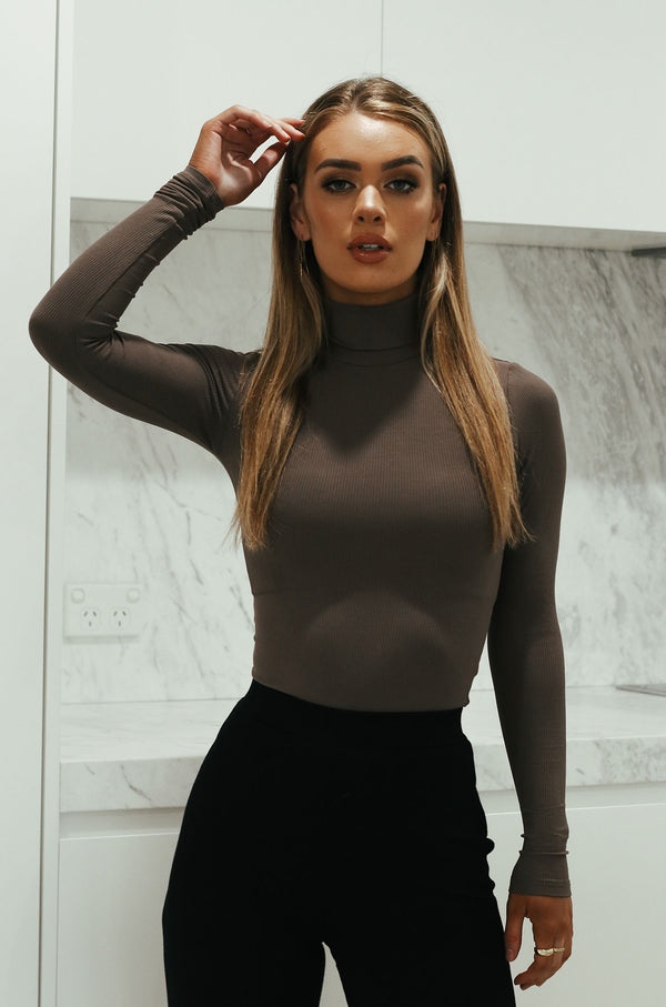Turtle Neck Bodysuit - Brown
