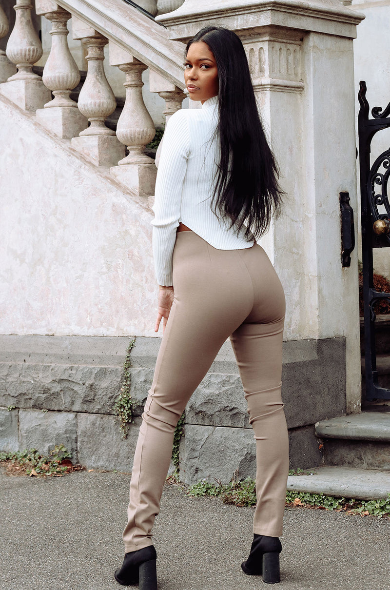 Henley Zip Pants | Taupe