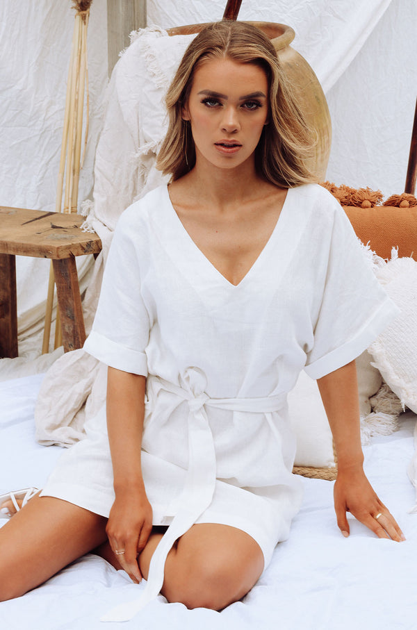 UNTIE ME LINEN DRESS WHITE