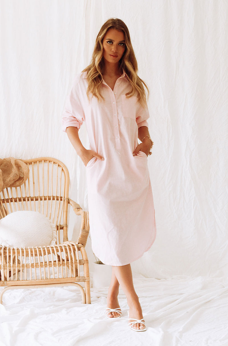 DONATELLA SHIRT DRESS - BABY PINK