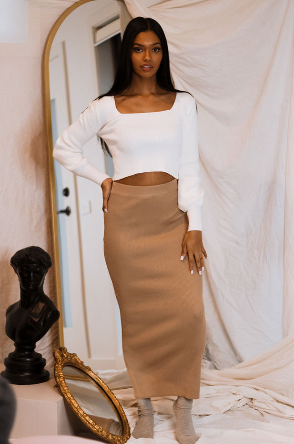 MOTTO KNIT MAXI SKIRT TAN