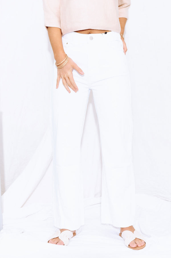 HAMMERED WIDE LEG JEANS WHITE