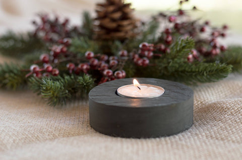 Tea Light Holder Round Shape One Candle - SlatePlate