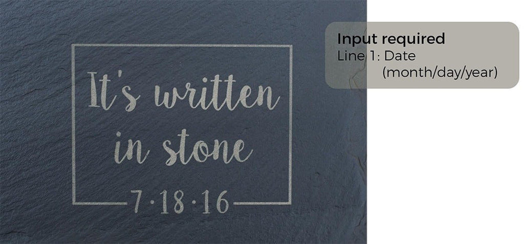 """It's written in stone"" Engraving and Slate Purchase - SlatePlate"