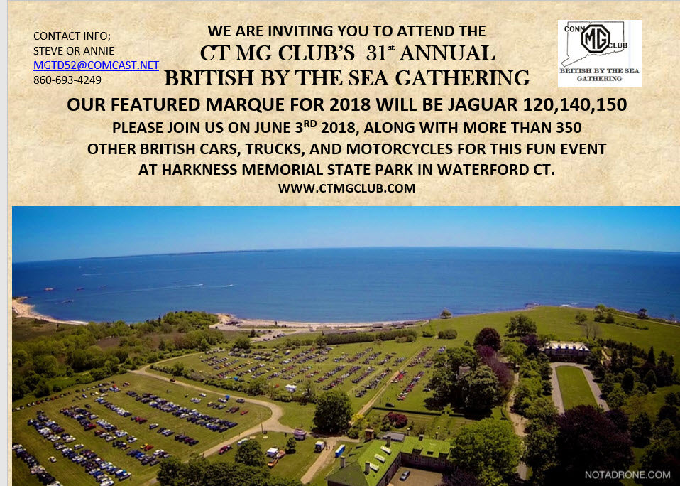 2018 British By the Sea Car Show - June 3rd, Waterford, CT
