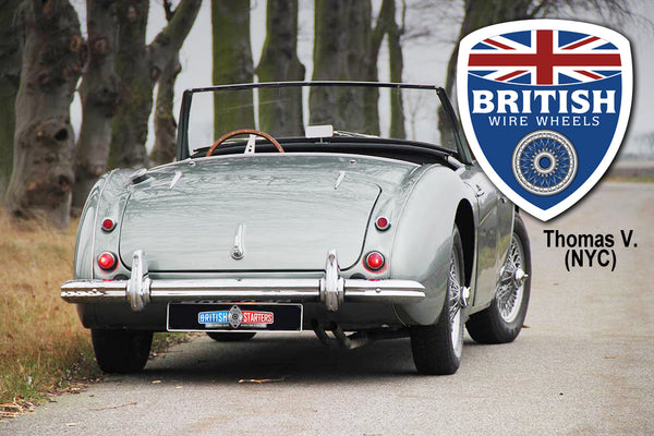 Moss Motors Dayton Dunlop MWS Austin Healey 15x4.5 60 Spoke Chrome TUBELESS British Wire Wheels