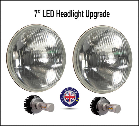 Jaguar MG Austin Healey Lotus Mini Triumph LED Headlight Conversion Kit with Lucas Headlight buckets