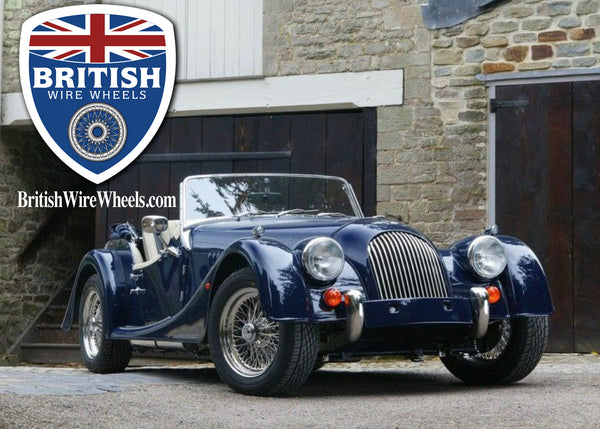 Morgan Plus 4 four center lace wire wheels British wire wheels