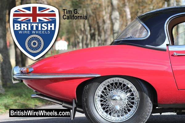 Jaguar XKE 72 spoke 15x6 wire wheels moss motors XKS Dunlop British Wire Wheels