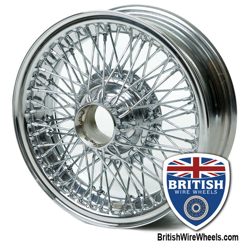 "Dayton Dunlop MWS  Wire Wheels Jaguar  15""x 5""  72 Spoke Chrome Tubeless Curly Hub"