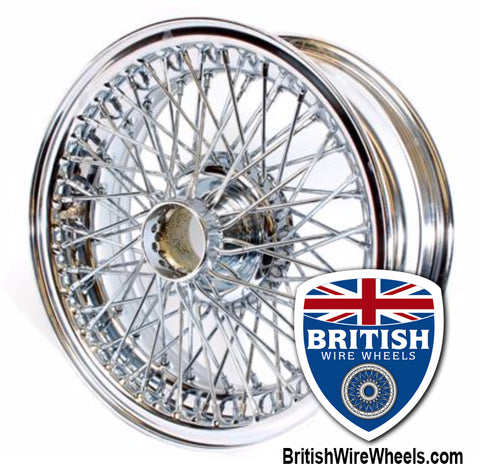 Dayton Dunlop MWS Austin Healey MGC Triumph 15 x 5.5 72 Spoke Chrome Tubeless British Wire Wheels