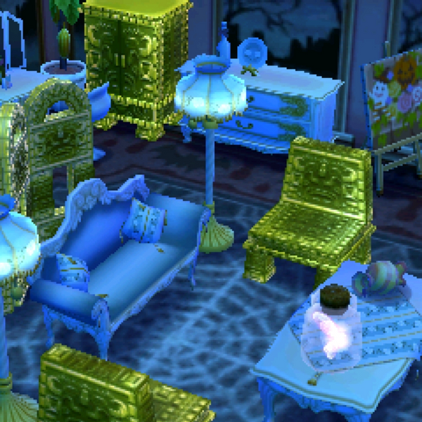 Animal Crossing New Leaf Room Decorated for Halloween