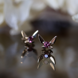 Fairy Companion Studs, Garnet Sample