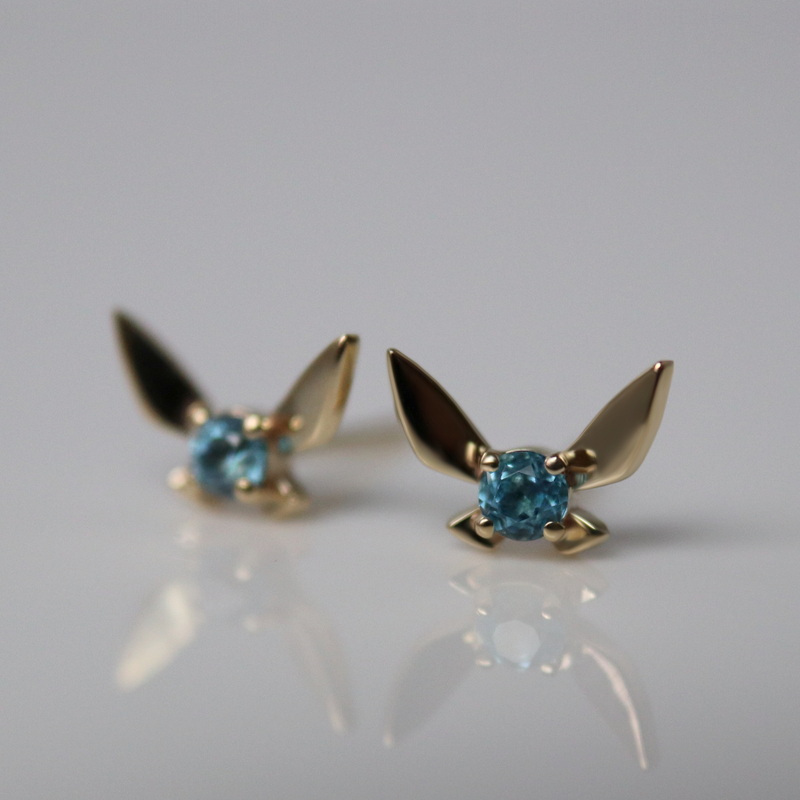 Fairy Companion Studs, Blue Topaz