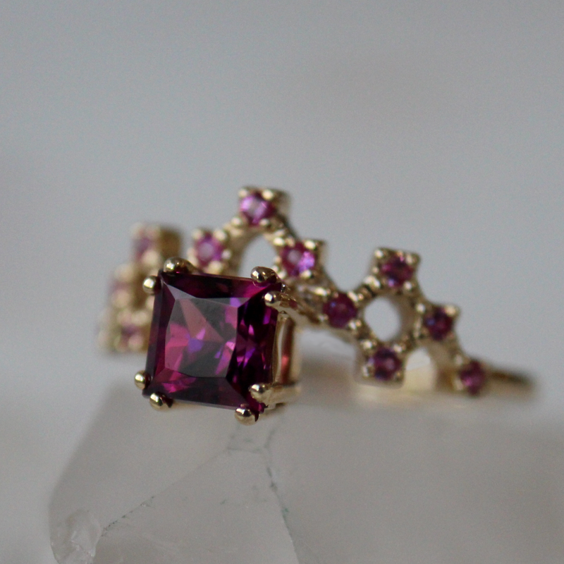 Garnet and Pink Sapphire Pixel Ring Test Sample