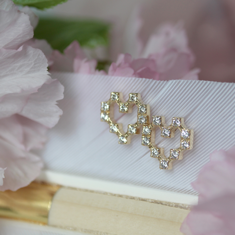 Pixel Heart Earrings of Light
