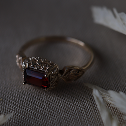 Ornate Medieval Ring, Emerald Cut Test Sample