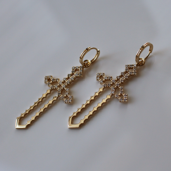 Pixel Sword Earrings of Light