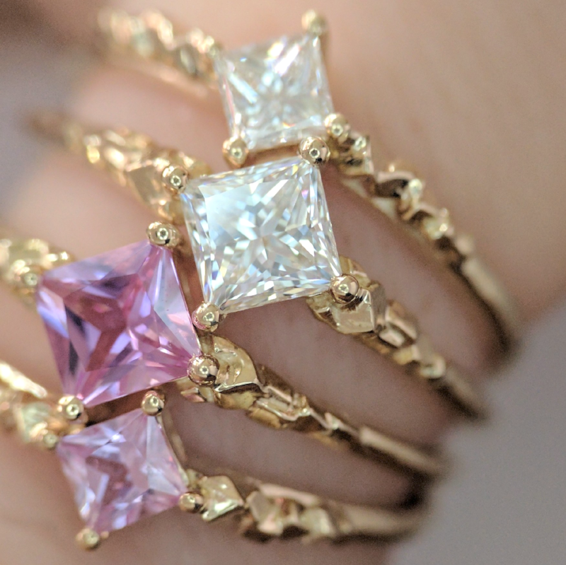 Princess Cut Diamond and Pink Sapphire Engagement Rings - Soulbound