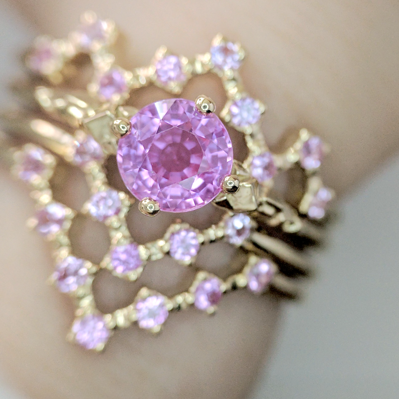 Pink Sapphire Pixel Ring Stack - Soulbound