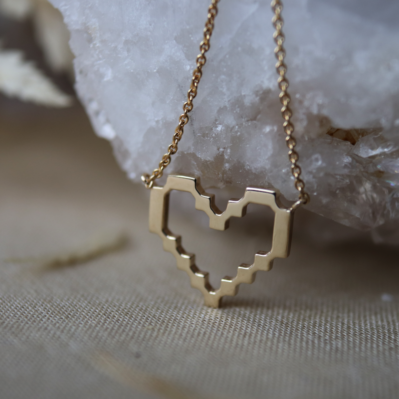 Super Pixel Heart Necklace Sample