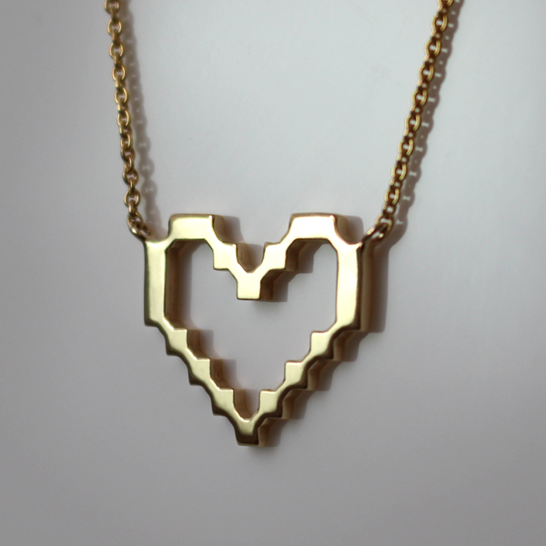 Super Pixel Heart Necklace