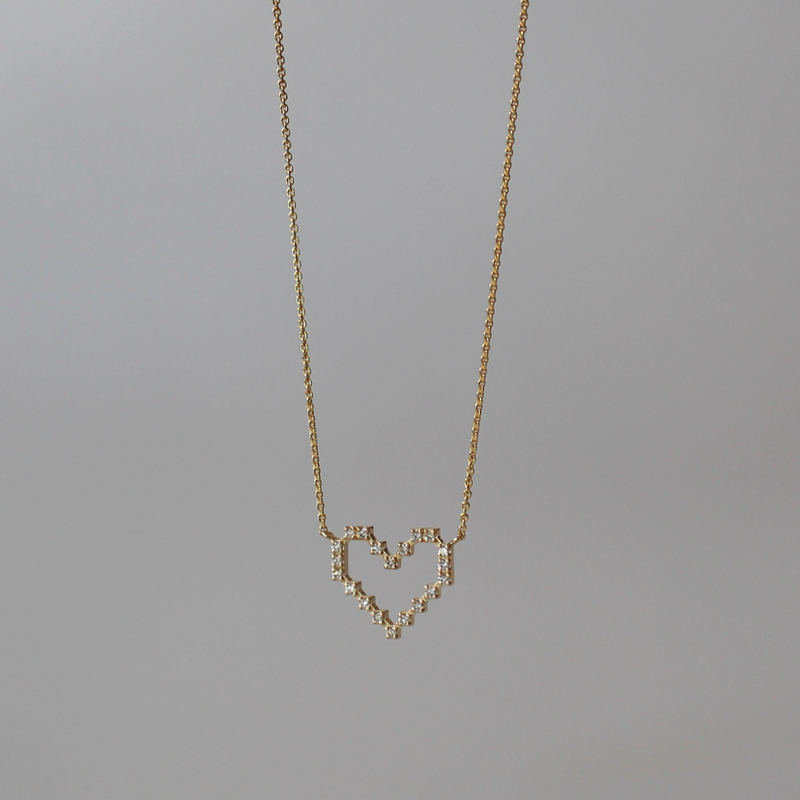 Super Pixel Heart Necklace of Light