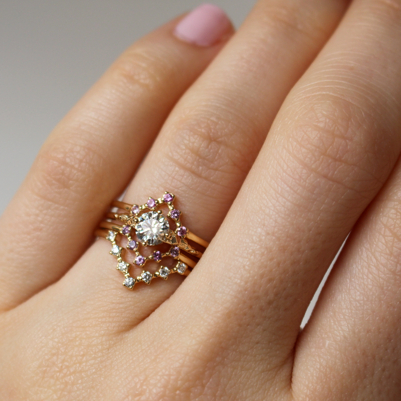 Diamond and Pink Sapphire Video Game Inspired Wedding Ring Stack - Soulbound