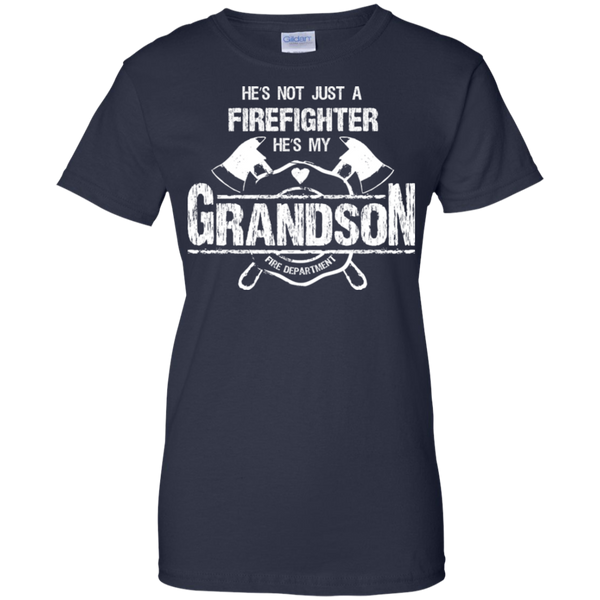 Firefighter Grandson Ladies Custom 100% Cotton T-Shirt