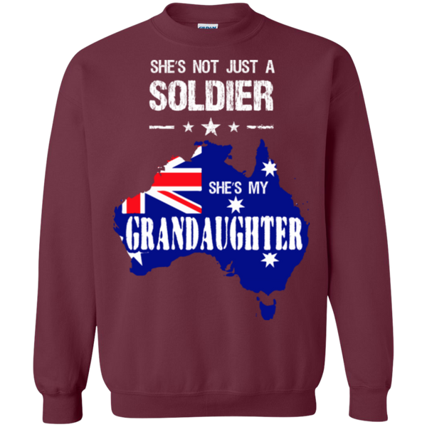 Military Granddaughter Printed Crewneck Pullover Sweatshirt  8 oz
