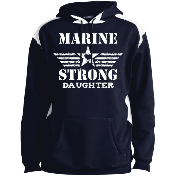 Marine Daughter Unisex Printed Shoulder Colorblock Pullover