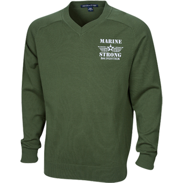 Marine Daughter Embroidered V-Neck Sweater