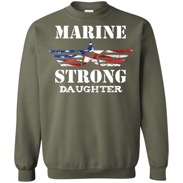 Marine Strong Daughter Printed Crewneck Pullover Sweatshirt  8 oz