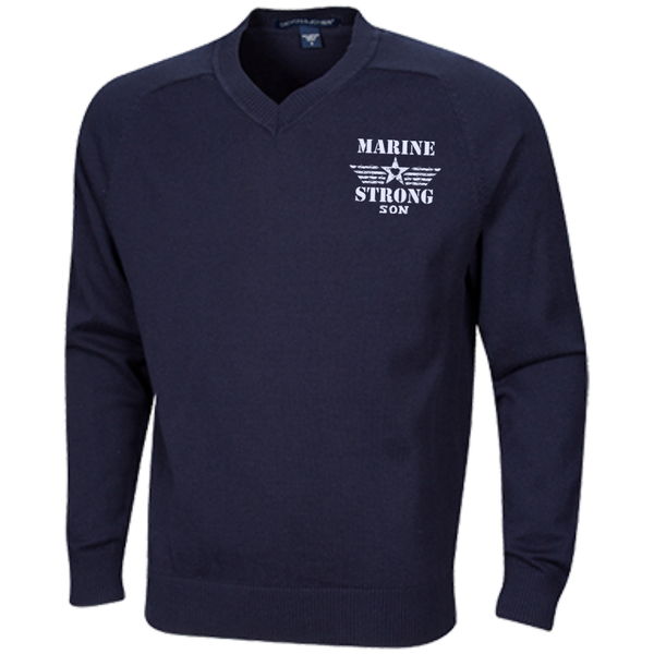 Embroidered Marine Son V-Neck Sweater