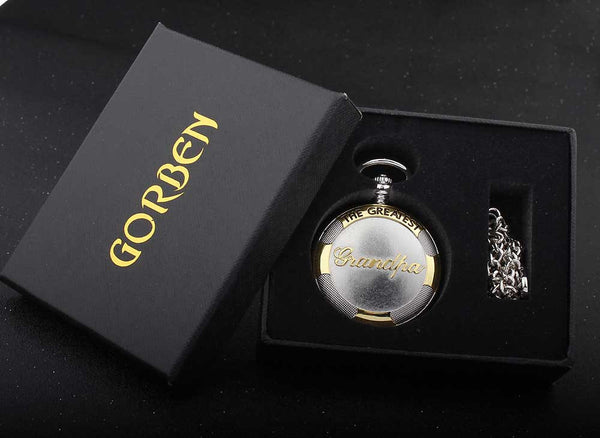 Vintage Silver Bronze Pocket Watch Necklace THE GREATEST Dad & Grandpa Gift Set Fob Chain Quartz Mens Watches