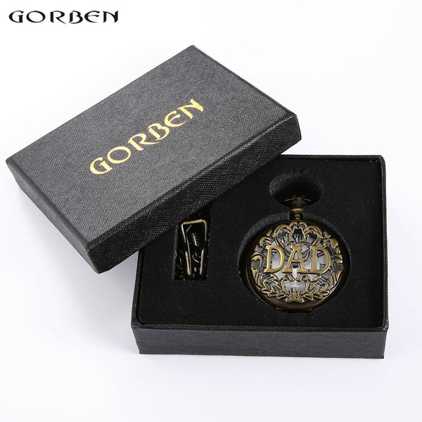 Vintage THE GREATEST Dad & Grandpa Pocket Watches With FOB Waist Chain with boxes Pocket Watch Gift Set