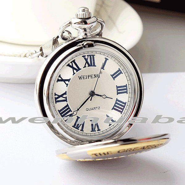 Luxury Silver Gold Quartz Pocket Watch Grandpa Pocket Fob Watches Necklace Chain Pendent Grandfather Gifts Relogio De Bolso
